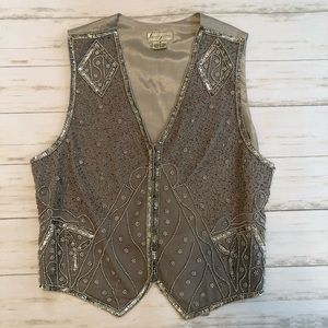Vintage Beaded Silk Vest Size M